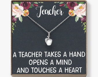 Teacher Necklace: A Teacher Takes Hand Opens Mind & Touches Heart