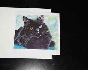 Black Long Hair Watercolor Feline 5x5 Notecare with Envelope