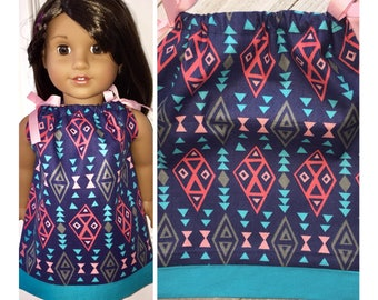 "18"" Doll Clothes/Doll Pillowcase Dress/American Girl Dress/Dreamcatcher Symbols"