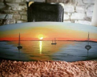 Boats floating on the Sunset Sea - Surfboard with Bespoke Wall Hanging Brackets, Original Painting perfect for Interior Desig
