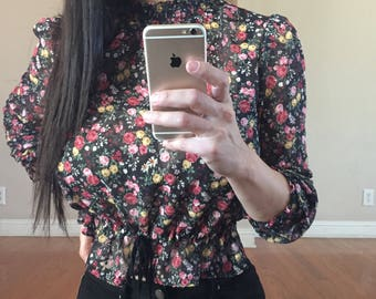 Black floral blouse NWT S & M available