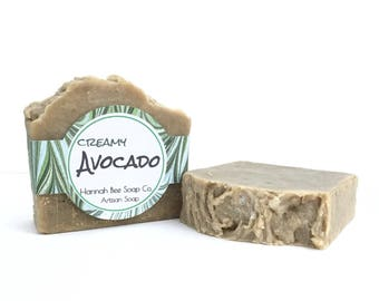 Creamy avocado Soap- natural soap- handmade- cold process soap, olive oil soap, white tea and ginger scented