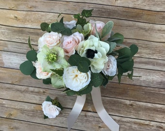 "Hand Tied Springtime ""Silk"" (faux) Bridal Bouquet with Matching Boutonnière"