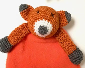 Ferdinand Fox – Crochet and Fabric Lovey / Comforter / Blankie – BABY SAFE and UNIQUE
