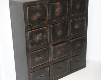 Rustic Black 12 Drawer Apothecary