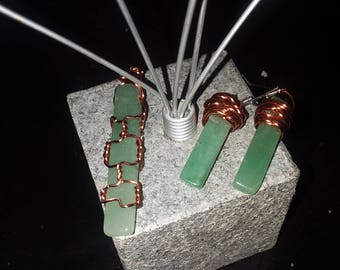 Green Aventurine Handmade Copper Wire Wrapped Pendant Set