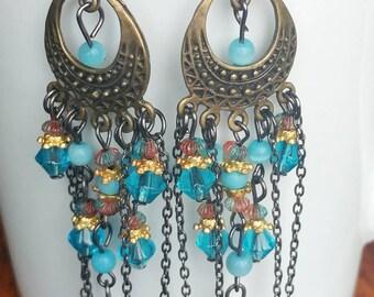 Blue beads chandelier earring, boho style