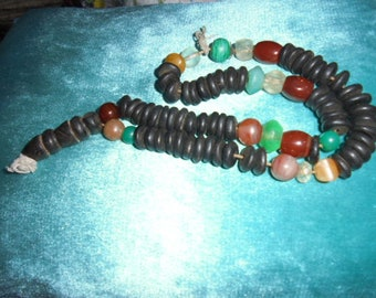 Moroccan Jewelry, old Saharan/Tuareg set prayer beads, all original, ebony, carnelian, agate, old glass & crystal, old resin