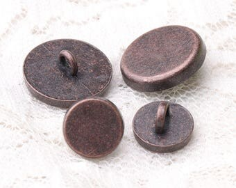 smooth buttons 10pcs 15*6/10*6mm metal buttons copper buttons round shank sewing coat buttons