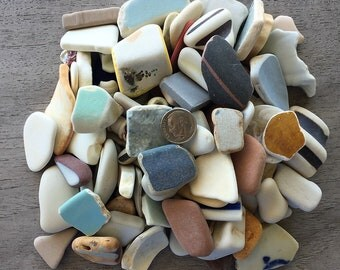 NEW LISTING - Vintage Pottery Shards & Beach Finds - A Bulk Lot 1-1/4 lb. 100 Pieces - A54