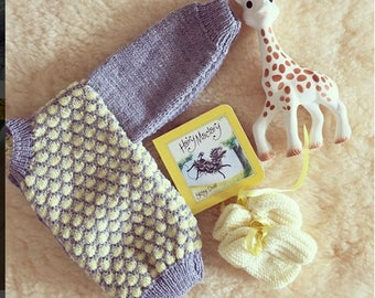 Grey and Yellow Patterned Cardigan. 3-6 MonthsKni