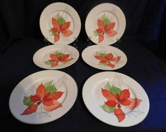 Block Spal Portugal Water Colors  Poinsettia  Salad Plates - 6   1982-1998