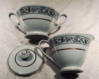 Fine China of Japan Creamer and Sugar Bowl- Rockford Pattern