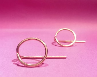 Copper circle threader earrings