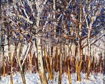 Sunny Winter Day - 16 x 16 original oil on canvas