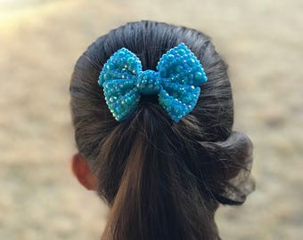 Holographic Stud Hair Bow (Baby Blue)(small)