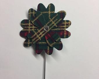 Men's tartan flower lapel pin