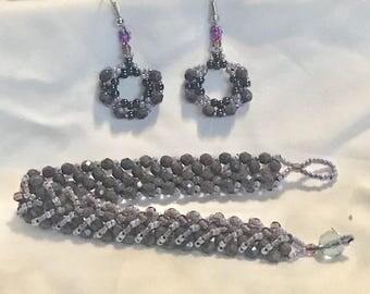 """Bracelet & Earrings """"Opaque purple"""" A20"""