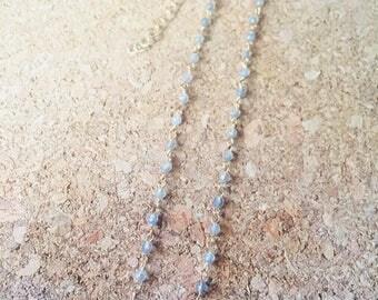 Labradorite Necklace, Semi Precious Stones,Labradorite, Gold Plating Necklace, Simple Gemstone necklace