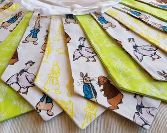 Fabric Bunting - 3 m/10 ft  with 15 double sided flags - Lime Green Yellow Peter Rabbit Cotton  Easter Celebration Nursery Decor Baby Shower