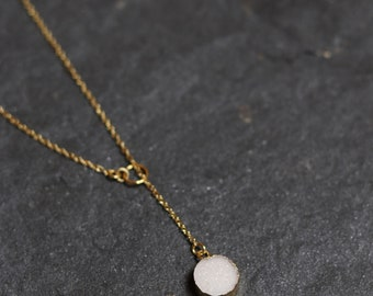 Elegant and dainty lariat necklace; white, natural druzy stone; gold chain