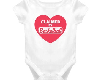 """Baby One Piece """"Claimed By Basketball"""", Baby Gift, Baby Clothes, Baby Shirt, Sports Fan, Basketball, Fan Gift, Basketball, Sports, Fan gift"""