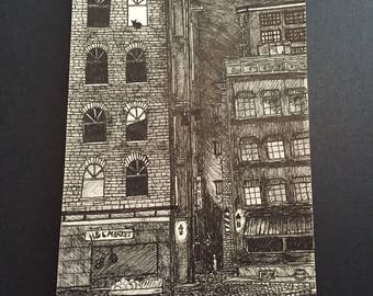 Original Pen and Ink Alley Illustration Noir