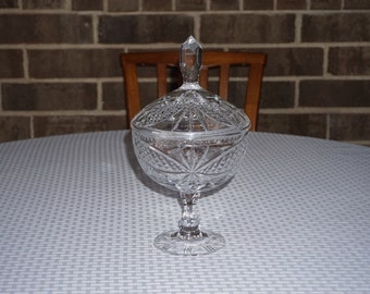 Vintage Cut Lead Crystal Candy Dish Stemmed Compote.