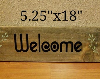 Welcome (vines) - Wood Sign