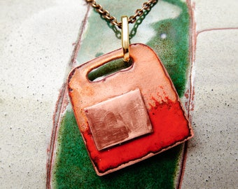 Cloisonne enamel pendant Abstract pendant Enameled Copper Necklace Metalwork Jewelry Sice 30 mm x 33 mm