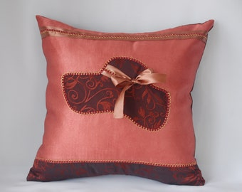 With applique hat decorative throw pillow cover, Bronze original cushion 16x16 floral embroidery Couch Pillow