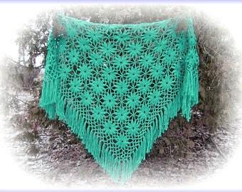 Hand crocheted shawl/Hand crochet shawl/Crochet shawl/Shawl crochet/Shawl handmade/Knit shawl,/Knitted shawl/Big shawl/Turguoise shawl.