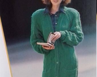 Beautiful Women Long Cardigan  knitting Pattern .PDF File .(c37)