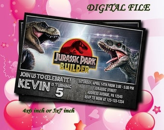 Jurassic World Invitation,Jurassic Park Birthday,Jurassic World Birthday Invitation,Jurassic Park Party,Personalized,Digital Download