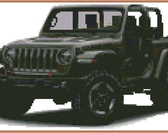 Cross stitch chart Jeep Wrangler AT-001  !!!ONLY CHART!!!