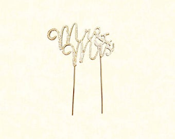 Gold Mr & Mrs Rhinestone Crystal Topper