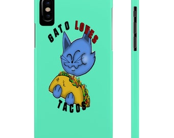 Cute Funny Gift For Her Cinco De Mayo Gato Cat Kitten Taco Tuesday Tacos Life Lover Slim iPhone Phone Case