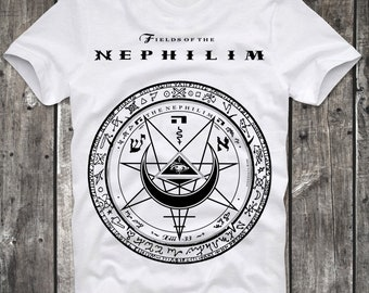 T-Shirt Fields of Nephilim Got Gothic Rock Logo White Distressed Retro Vintage 80s cult