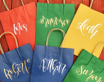 Custom calligraphy gift bag - Craft paper bag - Wedding present - Thank you gift bag - Modern Hand lettering - Personalized gift bag