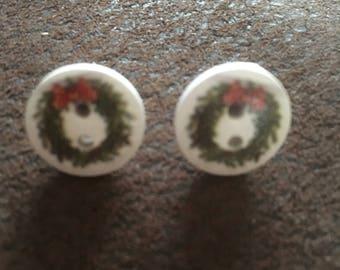 Christmas stud button earrings