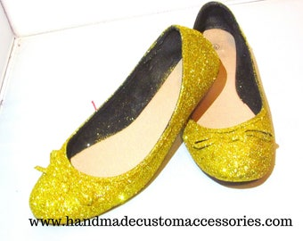 Gold glitter flats / party/ wedding/ prom glitter flat shoes