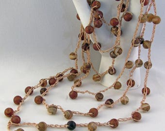 Crocheted Tibetan Agate Necklace