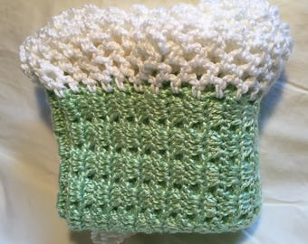 Mint Green Baby Blanket with White Border
