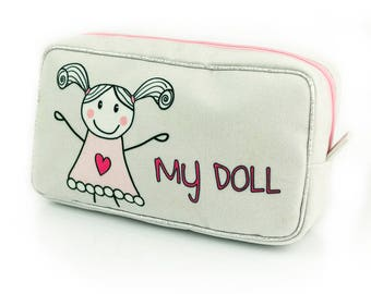 Pretty Cute My Doll Collection Unique  pencil case toiletry travel bag cosmetics bag For a Little Princess New Premium Collection 2018