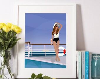 Cote D'Azur Girl (Illustration Print)