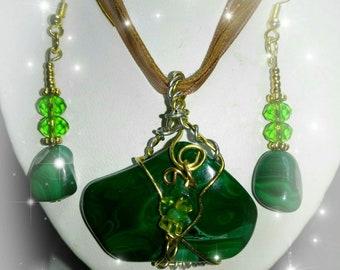 Malachite Pendant Necklace  and Earring Set