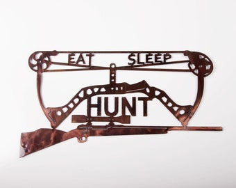 Eat, Sleep, Hunt Metal Wall Art
