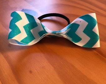 Teal Chevron Hair Tie 10 inch Bow