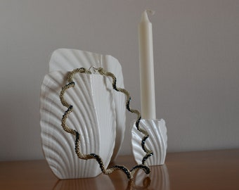 Wave, beaded necklace, beading, seed beads, Swarovski