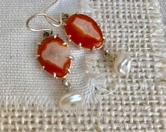 Carnelian and Pearl Earrings